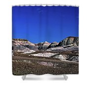 multicolored hills in Petrified Forest National Park Shower Curtain