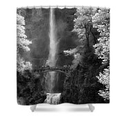 Multnomah Falls Bw Shower Curtain