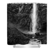 Multnomah Falls In Black And White Shower Curtain