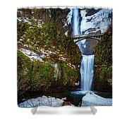 Multnomah Falls With Snow Shower Curtain