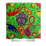 Mun Moji-hookah Monkey Shower Curtain