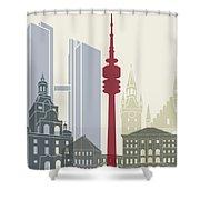 Munich Skyline Poster Shower Curtain