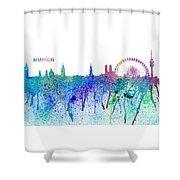 Munich Skyline Silhouette An Impressionistic Splash - Dream Cities Series Shower Curtain