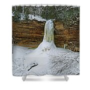 Munising Falls Frozen Shower Curtain