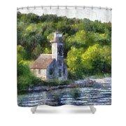 Munising Grand Island Lighthouse Upper Peninsula Michigan Pa 01 Shower Curtain