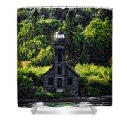 Munising Grand Island Lighthouse Upper Peninsula Michigan Vertical 01 Shower Curtain