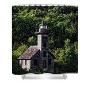 Munising Grand Island Lighthouse Upper Peninsula Michigan Vertical 02 Shower Curtain