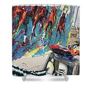 Mural Del Mar Race Track Shower Curtain