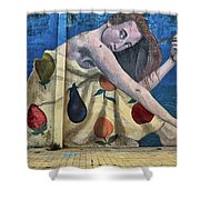 Mural Of A Woman In A Fruit Dress Shower Curtain