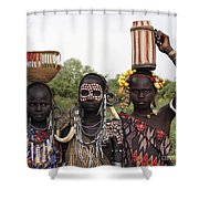 Mursi Tribesmen In Ethiopia Shower Curtain