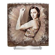 Muscle And Strength Pinup Poster Girl Shower Curtain