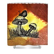 Mushroom And Butterfly Shower Curtain