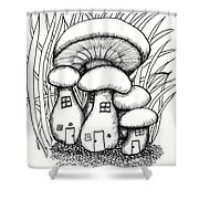 Mushroom Fairy Houses And Grass Shower Curtain