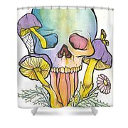 Mushroom Skull Shower Curtain