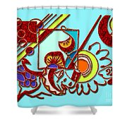 Mushrooms And Grapes Blue Shower Curtain