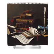 Music And Literature By William Michael Harnett Shower Curtain