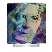 Music Icons - David Bowie Ill Shower Curtain