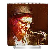 Music - Jazz Sax Player With A Hat Shower Curtain