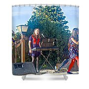 Musical Entertainers In Central Park In Bariloche-argentina Shower Curtain