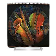Musical Mandala - Features Cello And Sax's Shower Curtain