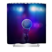 Musical Microphone On Stage Shower Curtain