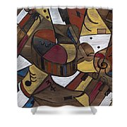 Musicality In Brown Shower Curtain