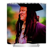 Musician In Pirate Hat And Dreadlocks - In Watercolor Photo Shower Curtain