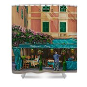 Musicians' Stroll In Portofino Shower Curtain by Charlotte Blanchard
