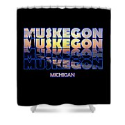 Muskegon Channel Sunset Shower Curtain