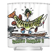 Musky Hunter - Cartoon Shower Curtain by Peter McCoy