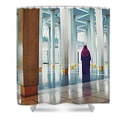Muslim Woman Dressed In The Traditional Islam Clothing Standing Inside National Mosque In Malaysia Shower Curtain