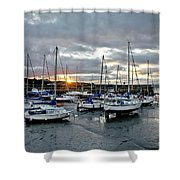 Musselburgh Marina In The Sunset. Shower Curtain