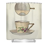 Mustache Cup And Saucer Shower Curtain