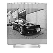 Mustang Alley In Black And White Shower Curtain by Gill Billington