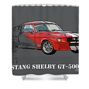 Mustang Shelby Gt500 Red, Handmade Drawing, Original Classic Car For Man Cave Decoration Shower Curtain