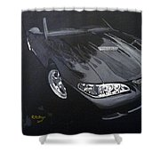 Mustang With Flames Shower Curtain
