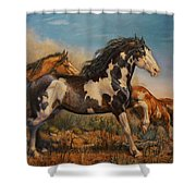 Mustangs On The Run Shower Curtain