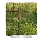 Mustard Grass And Fence At Entrance To Peters Canyon Shower Curtain