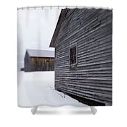Musterfield Farm North Sutton Nh Old Buildings In The Snow Shower Curtain