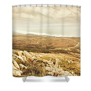Muted Mountain Views Shower Curtain