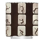 Muybridge Locomotion Back Hand Spring Shower Curtain by Photo Researchers