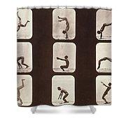 Muybridge Locomotion Back Hand Spring Shower Curtain