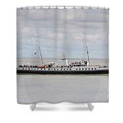 Mv Balmoral Leaves Penarth Pier Shower Curtain