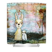 My Best Friend Baby Rabbit Baby Owl Abstract Art  Shower Curtain