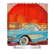 My Blue Corvette At The Orange Julep Shower Curtain