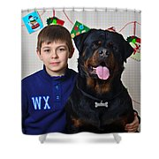 My Brother And The Dog Shower Curtain