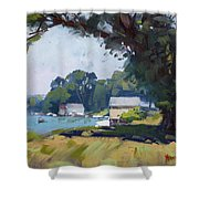 My Demonstration At Plein Air Workshop At Mayors Park Shower Curtain