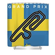 My F1 Anderstorp Race Track Minimal Poster Shower Curtain