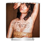 My Invisible Tattoos - Self Portrait Shower Curtain by Jaeda DeWalt