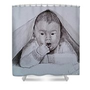 A Little Dude In The Blanket  Shower Curtain